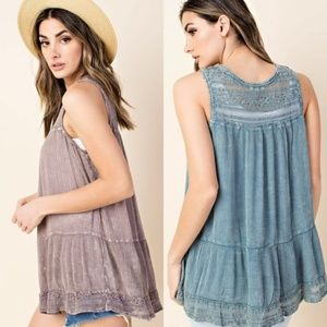Ruffled Bottom Double Lace Washed Top